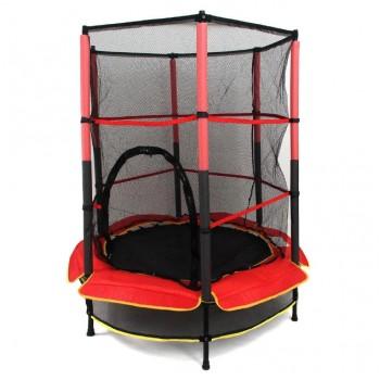Батут на пружинах для ребенка с металлическими ножками и защитной сеткой диаметром 140 см BT-RJ-0072 (красный)