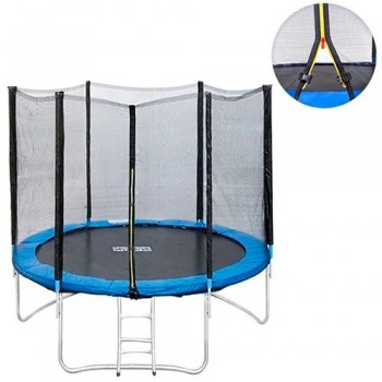 Батут с защитной сеткой и лестницей Profi MS 0496 диаметр 244 см