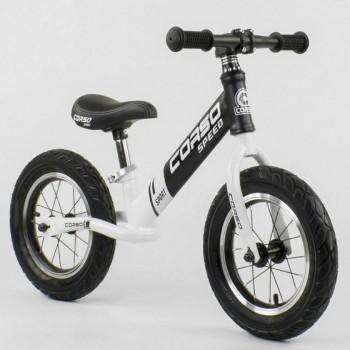 Беговел (велобег) с резиновыми колесами Corso 10234, стальная рама, колесо 12 дюймов, белый