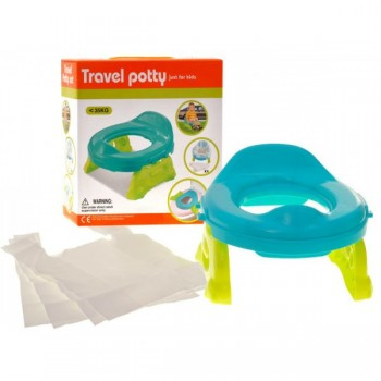 Детский дорожный горшок два в одном, со сменными пакетами в комплекте Travel Potty 8806