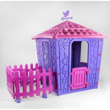 Детский игровой домик с оградкой для двора Pilsan Stone 06-443 (высота 150 см), цвет сиренево-лиловый