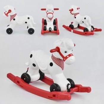 Детская каталка-качалка Pilsan Лошадка 01-002 Красный, съемный поддон, музыка, на колесиках