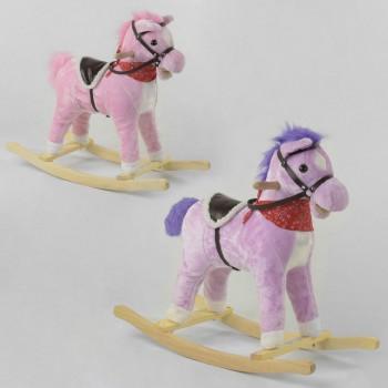Детская качалка-лошадка 34510 (2 цвета) звуковые эффекты, двигает хвостом