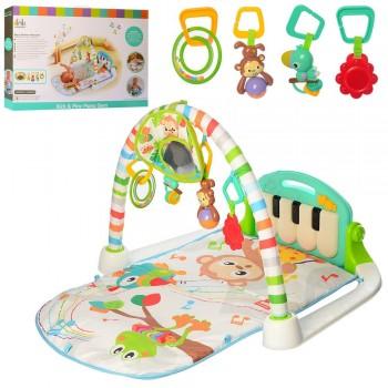 Игровой музыкальный коврик с пианино, подвесными игрушками и зеркальцем для малышей 63558 (размер 90*50 см)