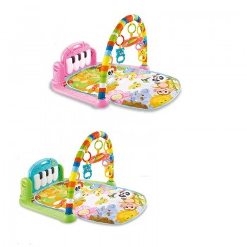 Детский развивающий музыкальный коврик-пианино для малышей 696-R21 / R22 с подвесными игрушками (2 вида)