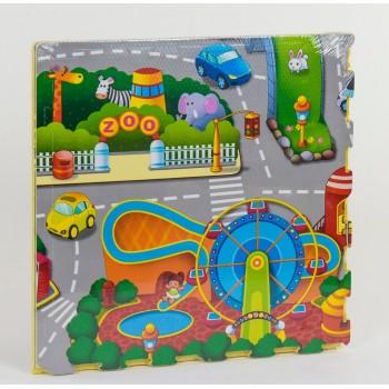 Детский, игровой, легкий, текстурный коврик из пазлов Город для малышей EVA С 36625, 4 шт в упаковке
