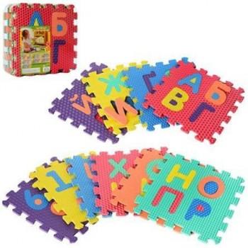 Детский развивающий коврик-пазл мозаика с буквами украинского алфавита, с массажным эффектом 2609