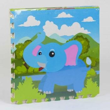 Детский мягкий коврик-пазл мозаика Животные, с массажным эффектом EVA С 36566 4 шт в упаковке