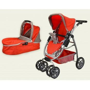 Детская коляска-трансформер для кукол Melogo 9662 железная, люлька-переноска, красная