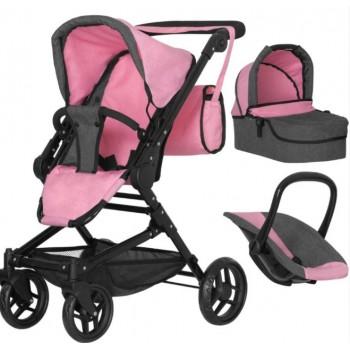 Игрушечная коляска-трансформер для кукол 3 в 1 с люлькой и сиденьем MELOBO 9636 PINK CARRELLO MAGIA , розовая