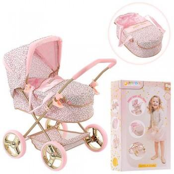 Классическая, игрушечная, прогулочная коляска для кукол и пупсов с люлькой D-86486, с металлическим каркасом