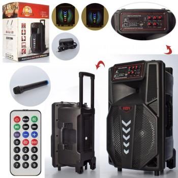 Портативная аккумуляторная Bluetooth колонка LT-1205 в виде чемодана с колесиками и ручкой, пульт, микрофон