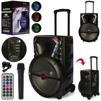 Bluetooth колонка-чемодан на колесах с ручкой портативная, аккумуляторная LT-1517BT в комплекте микрофон