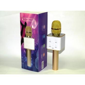 Микрофон с караоке для детей Q7 Bluetooth упакован в футляр, подключается к телефону (цвет Золотой)
