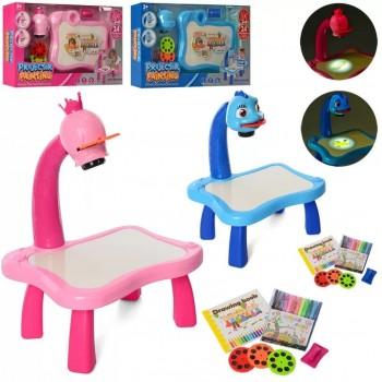 Музыкальный столик с проектором для рисования YM6446-6556 с фломастерами и слайдами с картинками (2 цвета)