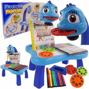 Проектор для рисования детский с 12 фломастерами YM6886 24 картинки Синий
