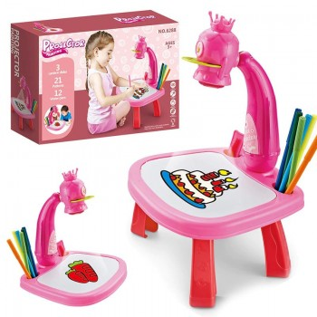 Детский столик для рисования с проектором и слайдами 6288, многоразовая платформа для рисунков