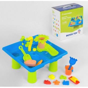 Детский игровой разборной столик для игры с песком и водой 102 с кинетическим песком и аксессуарами