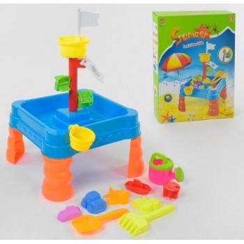 Детский игровой переносной столик для игры с песком и водой 6155 с мельницей и аксессуарами