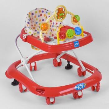 Детские музыкальные ходунки с регулировкой по высоте, на металлическом каркасе 258-1, красные
