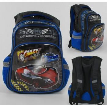 Рюкзак детский школьный Гонки C 43553 с 2 карманами, ортопедической спинкой и 3D принтом