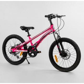 Велосипед спортивный для девочек, 7 скоростей, дисковые, ручные тормоза CORSO «Speedline» MG-52782, розовый