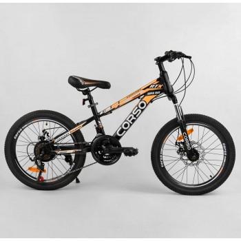 Велосипед спортивный для детей, с переключением скоростей, диаметр колес 50 см CORSO 98627, черный