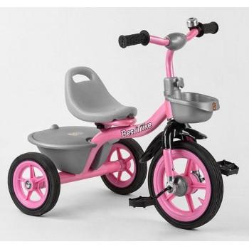 Велосипед трехколесный для девочки, колеса резина, сиденье регулируется BS-1142