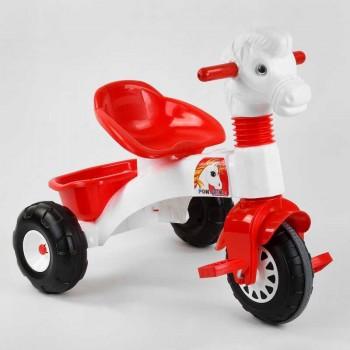 Велосипед для детей от 3-х лет с пластиковыми колесами, руль в виде лошадки Pilsan 07-146, цвет красно-белый