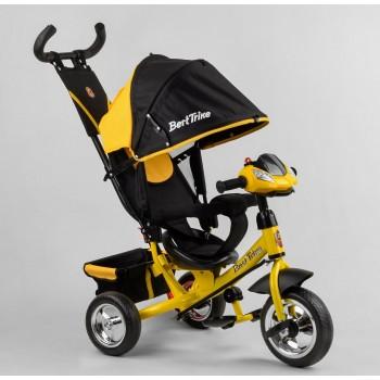 Велосипед с интерактивной панелью на руле, подножкой и ручкой для родителей 6588/72-109 Best Trike, желтый
