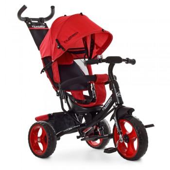 3-х колесный велосипед для ребенка с родительской ручкой и капюшоном TURBOTRIKE M 3113-3L, Красный лен