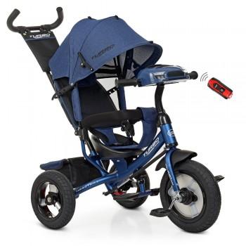 Велосипед для детей трехколесный с музыкальной панелью, фарой и ручкой TURBOTRIKE M 3115HA-11L, Синий лен