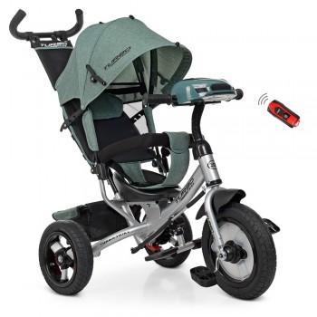 3-х колесный детский велосипед с музыкальной панелью и ручкой для родителей TURBOTRIKE M 3115HA-17L, Хаки лен