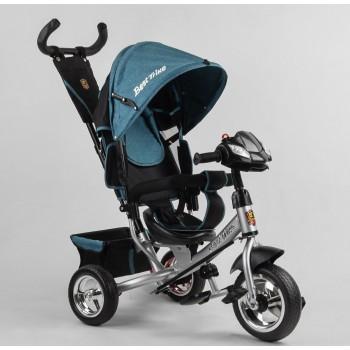 Велосипед детский с регулируемой спинкой, складной подножкой, звуком и светом 6588/71-008 Best Trike бирюзовый