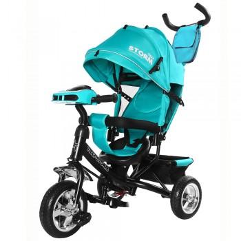 3-х колесный велосипед для ребенка с музыкальной панелью и ручкой для родителей TILLY STORM T-349/2 Бирюзовый