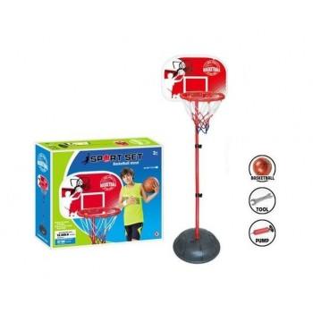 Баскетбольная стойка для детей с сеткой, кольцом, щитом, мячом и насосом MY 1703 А (высота 95-120 см)