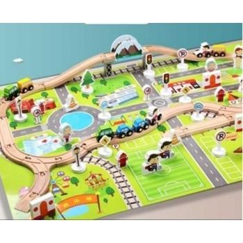 Деревянный конструктор с различными фигурками и машинками для ребенка Город мечты C 44898 (80 деталей)