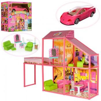 Детский игрушечный домик для кукол высотой 29 см в комплекте с мебелью и розовой машиной 6981 (99 элементов)