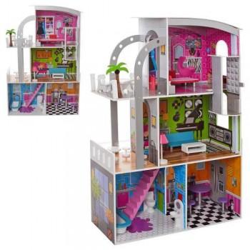 Деревянный домик для кукол MD 2012, 3 этажа, мебель