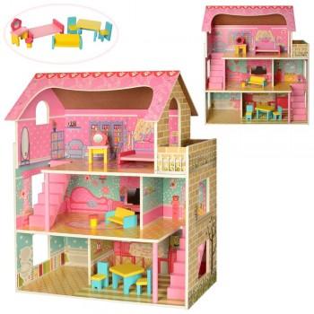 Домик для кукол Барби деревянный MD 2203, 3 этажа, мебель
