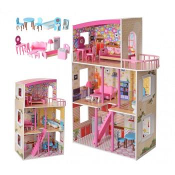 Деревянный домик для кукол с мебелью MD 2411, 3 этажа