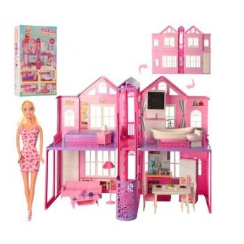 Игровой двухэтажный домик для кукол DEFA 8440-BF с мебелью и куклой