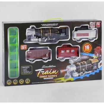 Детская железная дорога локомотив поезд 3377 со звуковыми и световыми эффектами (12 элементов)