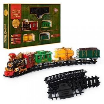 Детская железная дорога 0621 с поездом со звуковыми и световыми эффектами, пускает дым, работает от батареек