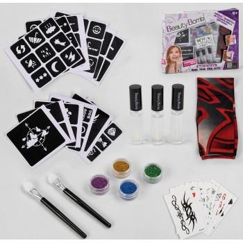 Детский игровой набор для тату с наклейками, трафаретом, кисточками и блестками 667-5
