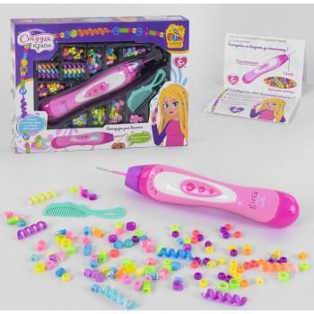 Игровой набор парикмахера для девочки 38911 с устройством для нанизывания бусин на волосы