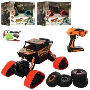 Детская машина на радиоуправлении 0983 с резиновыми колесами и сменными покрышками (3 цвета)
