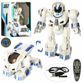Детский боевой робот трансформер на радиоуправлении K4 с эффектами,стреляет мягкими патронами