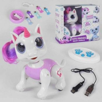 Детская интерактивная игрушка пони - единорог 8316 A с сенсорным управлением выполняет команды в белом цвете