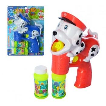 Мыльные пузыри пистолет-собачка на батарейках, со звуком, светом и двумя запасками 5555 (2 цвета)
